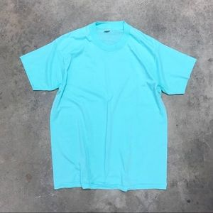 Vintage Single Stitch 50/50 Basic Aqua Tee Shirt